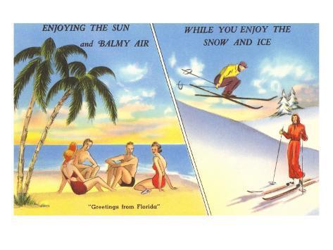Palm Trees and Beach Versus Snow Skiing Art Print