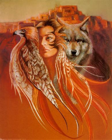 Animal and Maiden Art Print
