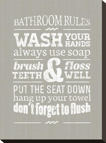 Bathroom Rules bathroom rules ii stretched canvas printpamela fogul at