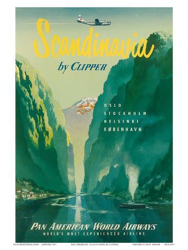 Pan American: Scandinavia by Clipper, c.1951 Art Print