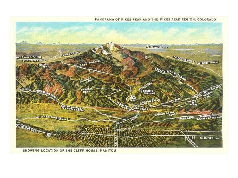 Panorama of Pike's Peak Region, Colorado Art Print