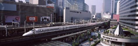 300 Series Shinkansen Train Leaving Railroad Station, Tokyo Prefecture, Kanto Region, Honshu, Japan Photographic Print