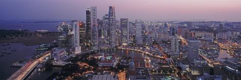Aerial View of the Skyline of the Financial District, Singapore Photographic Print