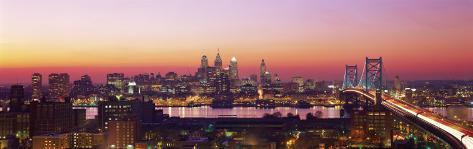 Arial View of the City at Twilight, Philadelphia, Pennsylvania, USA Photographic Print