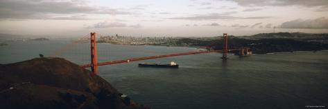 Barge Passing under Golden Gate Bridge, San Francisco, California, USA Photographic Print