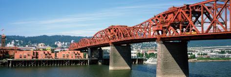 Bascule Bridge across River, Broadway Bridge, Willamette River, Portland, Multnomah County, Oregon Photographic Print
