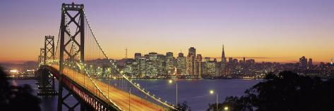 Bay Bridge at Night, San Francisco, California, USA Photographic Print