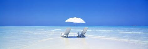 Beach, Ocean, Water, Parasol and Chairs, Maldives Photographic Print