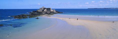 Beach with a Fort in the Background, St-Malo, Brittany, France Photographic Print