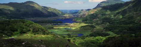 Birds-Eye View of River Through Mountain Landscape, Killarney National Park, Ireland Photographic Print