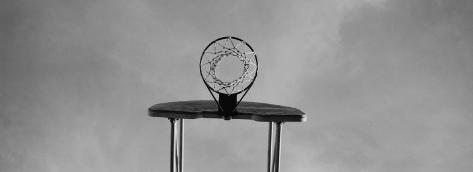 Black and White, Basketball Hoop Photographic Print