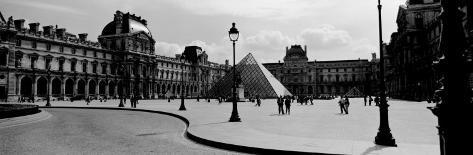 Black and White, Exterior, the Louvre, Paris, France Photographic Print