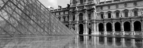 Black and White, Exterior, the Louvre, Paris, France Photographic Print