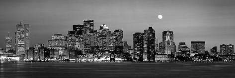 Black and White Skyline at Night, Boston, Massachusetts, USA Photographic Print