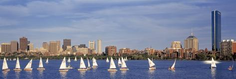 Boats on a River by a City, Charles River, Boston, Massachusetts, USA Photographic Print