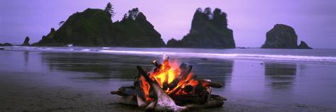 Bonfire on the Beach, Point of the Arches, Shi-Shi Beach, Washington State, USA Photographic Print
