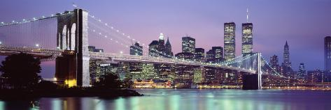Bridge across a River Lit Up at Dusk, Brooklyn Bridge, East River, World Trade Center Photographic Print