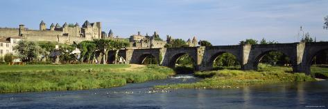 Bridge Across Aude River, Carcassonne, Languedoc, France Photographic Print
