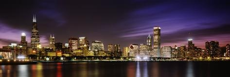 Buildings at the Waterfront Lit Up at Night, Sears Tower, Lake Michigan, Chicago, Illinois, USA Photographic Print