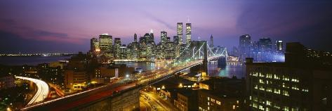 Buildings Lit Up at Night, World Trade Center, Manhattan, New York City, New York, USA Photographic Print