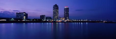 Buildings Lit Up at Waterfront, Torre Mapfre, Hotel Arts, Port Olimpic, Barcelona, Catalonia, Spain Photographic Print