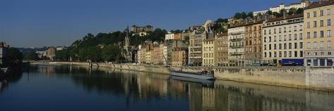 Buildings on the Waterfront, Saone River, Lyon, France Photographic Print