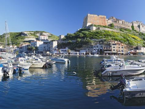 Castle on a Hill, Bonifacio Harbour, Corsica, France Photographic Print