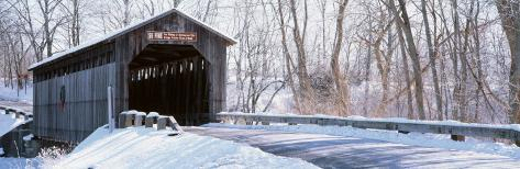 Christmas Wreath on a Bridge, Fallasburg, Michigan, USA Photographic Print