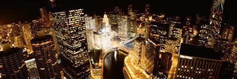 City at Night, Chicago River, Chicago, Illinois, USA Photographic Print