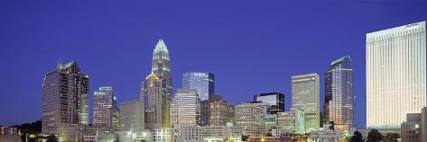 Cityscape at Night, Charlotte, North Carolina, USA Photographic Print