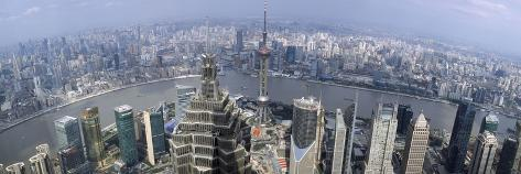 Cityscape with River Viewed from Jin Mao Tower, Huangpu River, Pudong, Shanghai, China 2010 Photographic Print