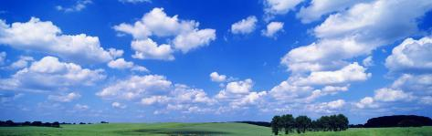 Cumulus Clouds with Landscape, Blue Sky, Germany, USA Photographic Print