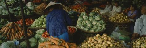 Customer Buying Vegetables in a Vegetable Market, Hue, Vietnam Photographic Print