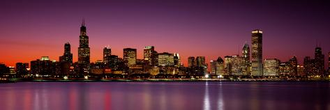 Dusk, Skyline, Chicago, Illinois, USA Photographic Print