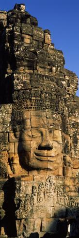 Face Carved on Rocks in a Temple, Bayon Temple, Angkor, Cambodia Photographic Print