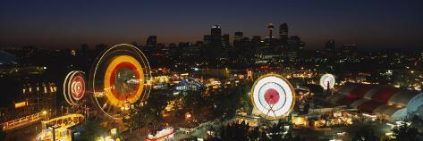 Ferris Wheels Lit Up at Night, Calgary Stampede, Calgary, Alberta, Canada Photographic Print