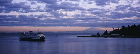 Ferry in the Sea, Elliott Bay, Puget Sound, Washington State, USA Photographic Print