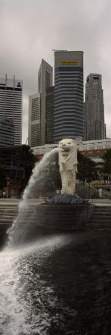 Fountain with Office Buildings in Background, Merlion Statue, Merlion Park, Singapore River Photographic Print