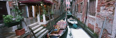 Gondolas in a Canal, Grand Canal, Venice, Italy Photographic Print