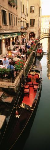 Gondolas Moored Outside of a Cafe, Venice, Italy Photographic Print
