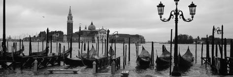 Gondolas with a Church in the Background, Church of San Giorgio Maggiore, San Giorgio Maggiore, ... Photographic Print