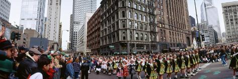 Group of People at St. Patrick's Day Parade, Chicago, Illinois, USA Wall Decal