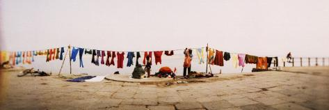 Hanging Clothes Out to Dry after Washing Them in the River, Ganges River, Varanasi, Uttar Pradesh,  Photographic Print