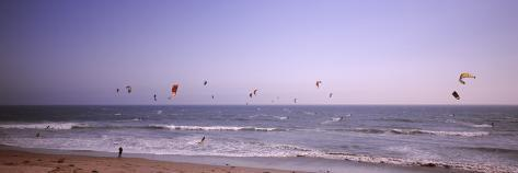 Kite Surfers over the Sea, Waddell Beach, Waddell Creek, Santa Cruz County, California, USA Photographic Print