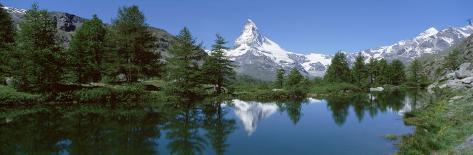 Lake, Mountains, Matterhorn, Zermatt, Switzerland Photographic Print