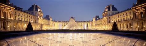 Light Illuminated in the Museum, Louvre Pyramid, Paris, France Photographic Print
