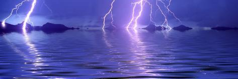 Lightning over the Sea Photographic Print