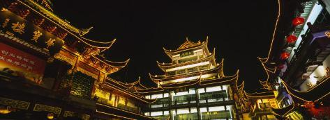 Low Angle View of Buildings Lit Up at Night, Old Town, Shanghai, China Photographic Print