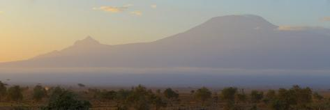 Mountains at Dawn View from Amboseli Park, Mt Kilimanjaro, Tanzania Photographic Print