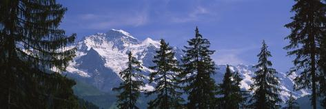 Mountains Covered with Snow, Swiss Alps, Wengen, Bernese Oberland, Switzerland Photographic Print